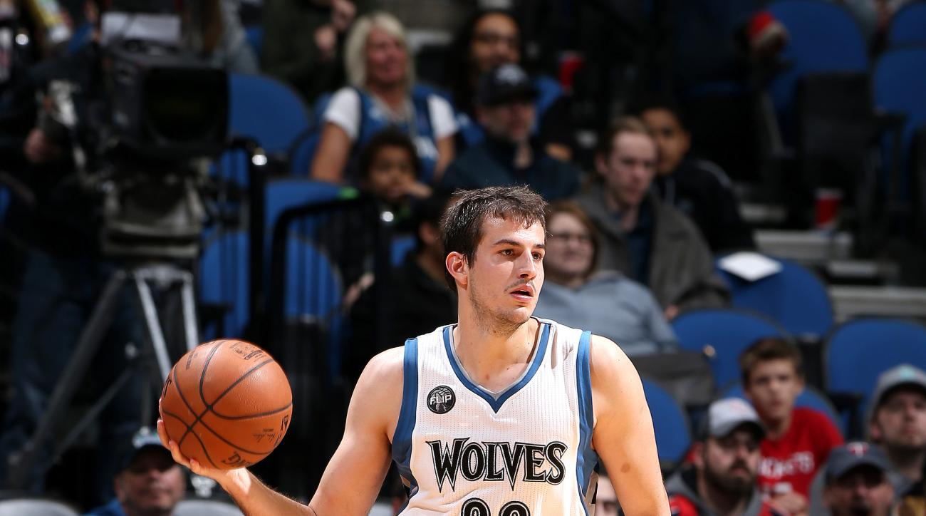 MINNEAPOLIS, MN -  APRIL 11: Nemanja Bjelica #88 of the Minnesota Timberwolves handles the ball during the game against the Houston Rockets on April 11, 2016 at Target Center in Minneapolis, Minnesota. (Photo by David Sherman/NBAE via Getty Images)