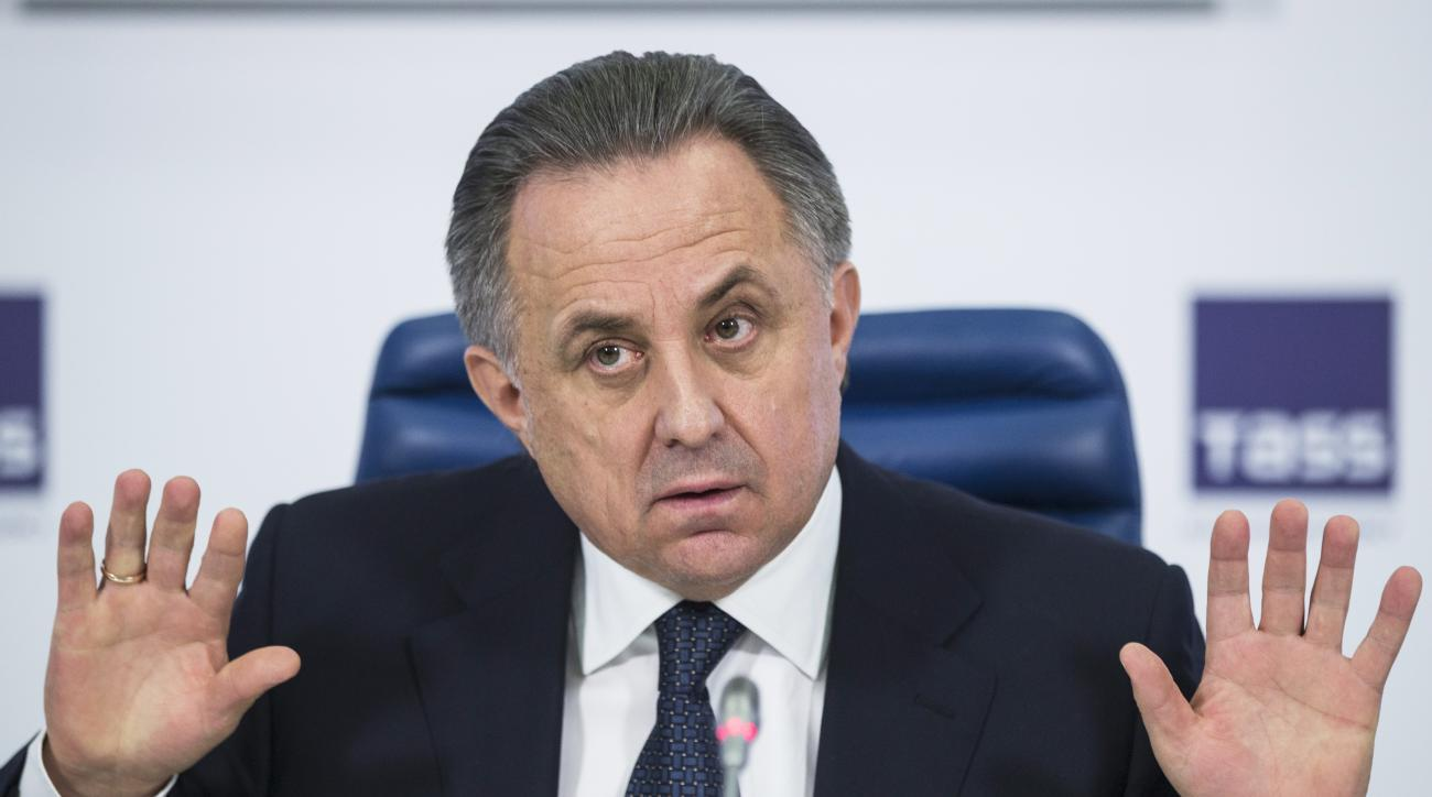 FILE - In this Dec. 25, 2015 file photo Russian Sports Minister Vitaly Mutko gestures during a news conference in Moscow, Russia. On Monday, July 18, 2016 WADA investigator Richard McLaren confirmed claims of state-run doping in Russia. (AP Photo/Pavel Go