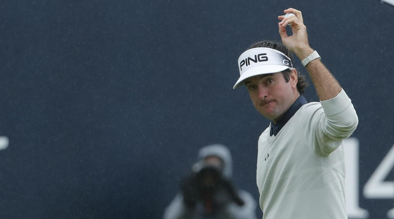Bubba Watson of the United States acknowledges the crowd after a birdie on the 18th green during the second round of the British Open Golf Championship at the Royal Troon Golf Club in Troon, Scotland, Friday, July 15, 2016. (AP Photo/Ben Curtis)