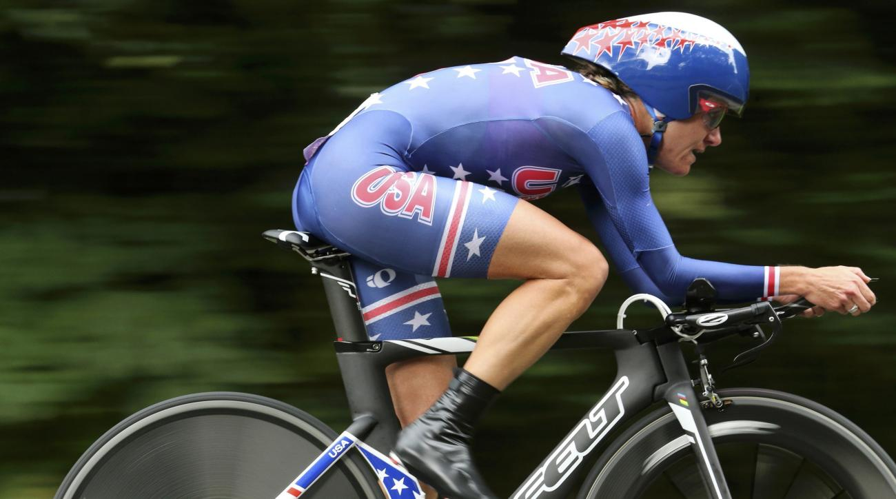 FILE - In this Aug. 1, 2012, file photo, xyclist Kristin Armstrong of the United States competes in the women's cycling individual time trial at the 2012 Summer Olympics in London. One of the nations most popular participatory sports is dealing with aging