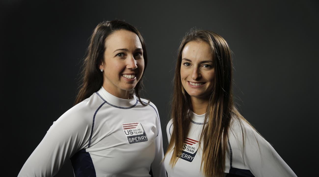 FILE - In this March 8, 2016, file photo, sailing teammates Briana Provancha, left, and Annie Haeger pose for photos at the 2016 Team USA media summit in Beverly Hills, Calif. The American sailors with the best chances of medaling in Rio are the women's 4