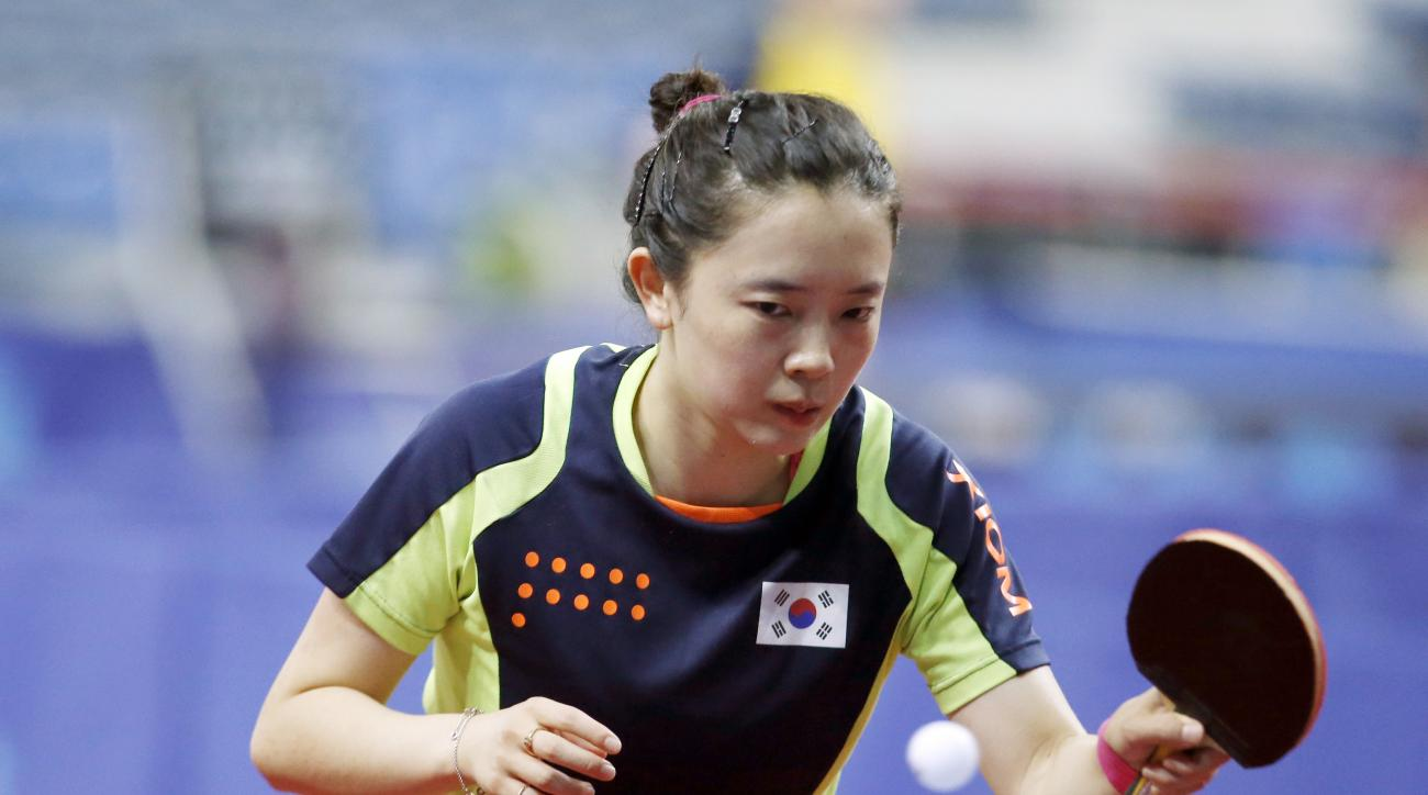 In this Tuesday, June 21, 2016 photo, South Korea's top female table tennis player, China-born Jeon Ji-hee, 23, returns a ball during a training session for the ITTF World Tour Korea Open in Incheon, South Korea. South Koreas top female table tennis playe