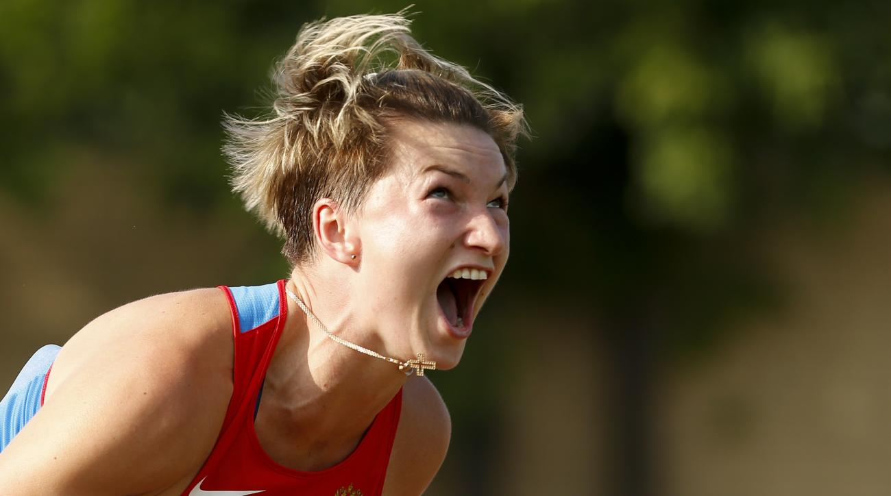 Rebryk Vira reacts as she takes a throw in the women's javelin event during the Russian Stars 2016 track and field competitions in Moscow, Russia, Thursday, July 28, 2016.  Vira is among the more than 100 athletes who have been barred from competing in th
