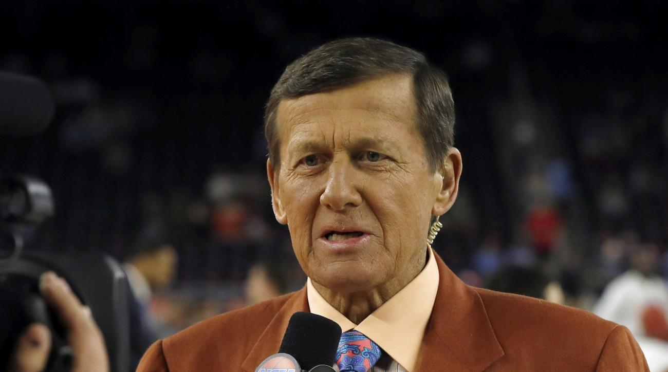FILE - In this April 4, 2016, file photo, Craig Sager speaks before the NCAA Final Four tournament college basketball championship game between Villanova and North Carolina in Houston. Sager will receive the Jimmy V Perseverance Award at the ESPYS on July