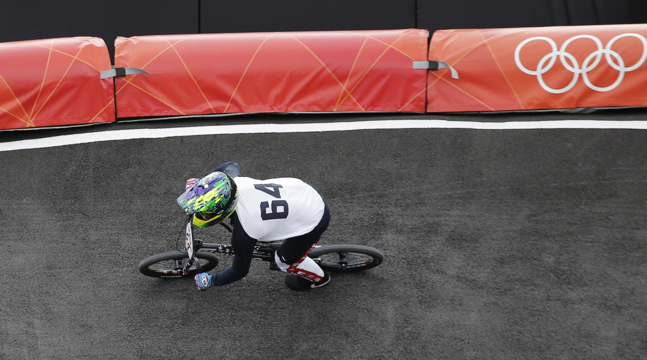 FILE - In this Aug. 8, 2012, file photo, Nicholas Long, of the United States, competes during the BMX cycling seeding run at the 2012 Summer Olympics in London. After getting shutout in London in 2012, the United States is looking to make the jump in BMX