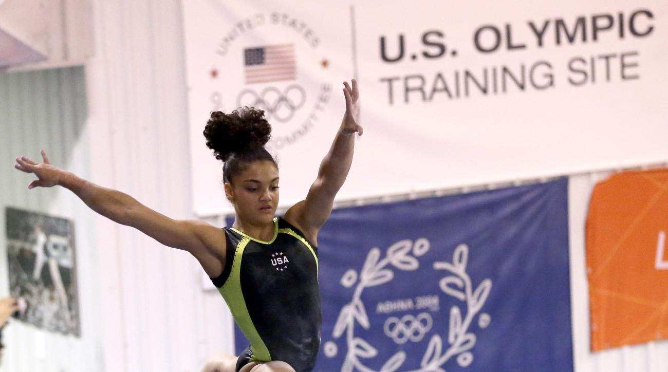 U.S. gymnast Laurie Hernandez trains at the Karolyi Ranch Saturday, Sept. 12, 2015, in New Waverly, Texas. (AP Photo/David J. Phillip)