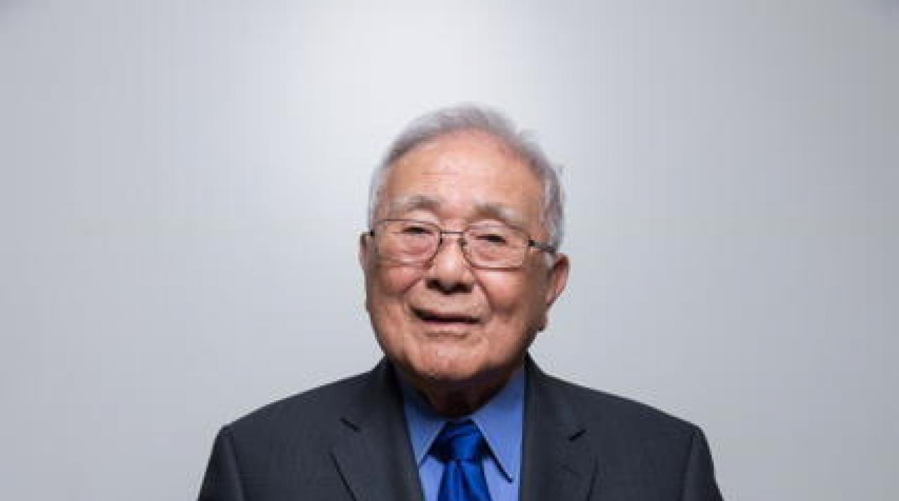 In this April 2, 2016 image provided by David Schmitz Photography, Yosh Yoshida poses at the National Collegiate Judo Association Championship at San Jose State University in San Jose, Calif. Uchida, 96,  will travel to Rio on Saturday, Aug. 6, 2016, for