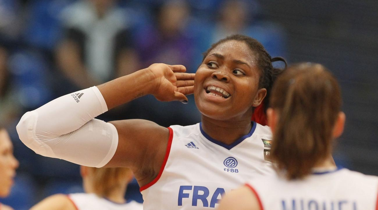 Isabelle Yacoubou of France react during the Women's Basketball European Championship semifinal match France vs Spain in Budapest, Hungary, Friday, June 26, 2015. (Aniko Kovacs/MTI via AP)