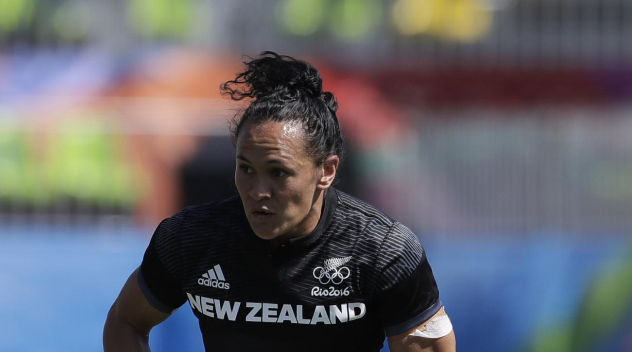 New Zealand's Portia Woodman, runs with the ball during the women's rugby sevens match between New Zealand and Kenya at the Summer Olympics in Rio de Janeiro, Brazil, Saturday, Aug. 6, 2016. (AP Photo/Themba Hadebe)