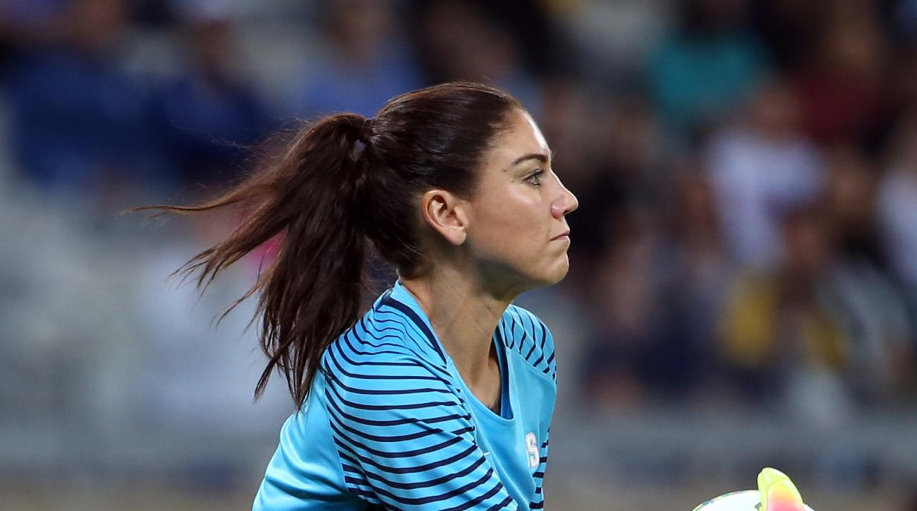 FILE- In this Aug. 3, 2016 file photo United States goalkeeper Hope Solo holds the ball during a women's Olympic football tournament match against New Zealand at the Mineirao stadium in Belo Horizonte, Brazil. It shouldn't come as a surprise that some of