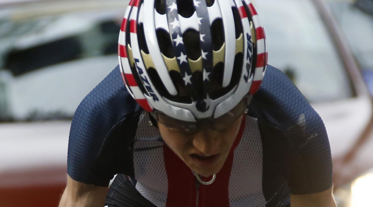 United States' cyclist Mara Abbott competes in the women's road race near Fort Copacabana at the Summer Olympics in Rio de Janeiro, Brazil, Sunday, Aug. 7, 2016. (Eric Gaillard/Pool Photo via AP)