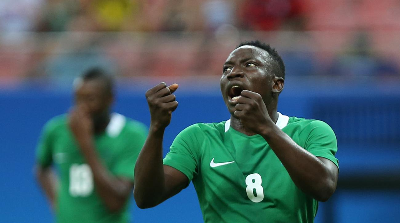 Nigeria's Oghenekaro Etebo reacts during a group B match of the men's Olympic football tournament between Sweden and Nigeria at the Amazonia Arena, in Manaus, Brazil, Sunday, Aug. 7, 2016. (AP Photo/Michael Dantas)
