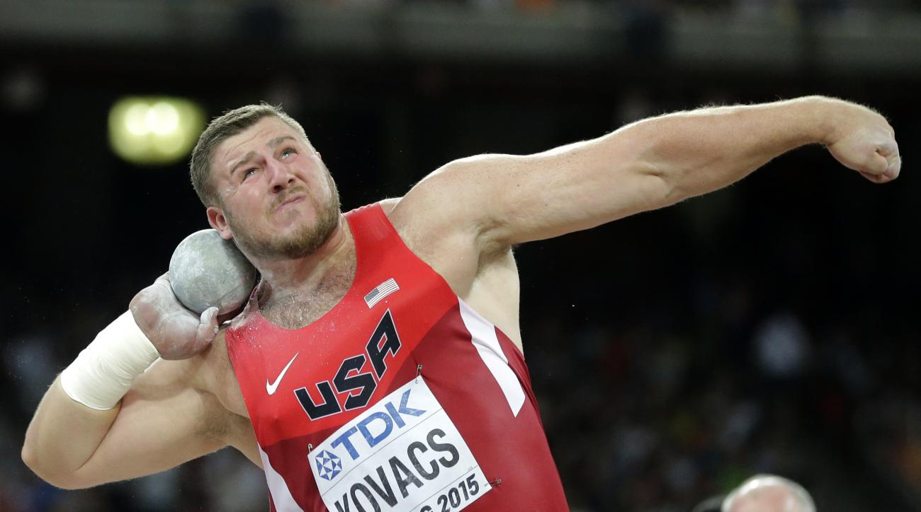 FILE - In this Aug. 23, 2015 file photo, United States' Joe Kovacs competes in the final of the men's shot put at the World Athletics Championships at the Bird's Nest stadium in Beijing. Kovacs is among those using state-of-the-art technology at the track