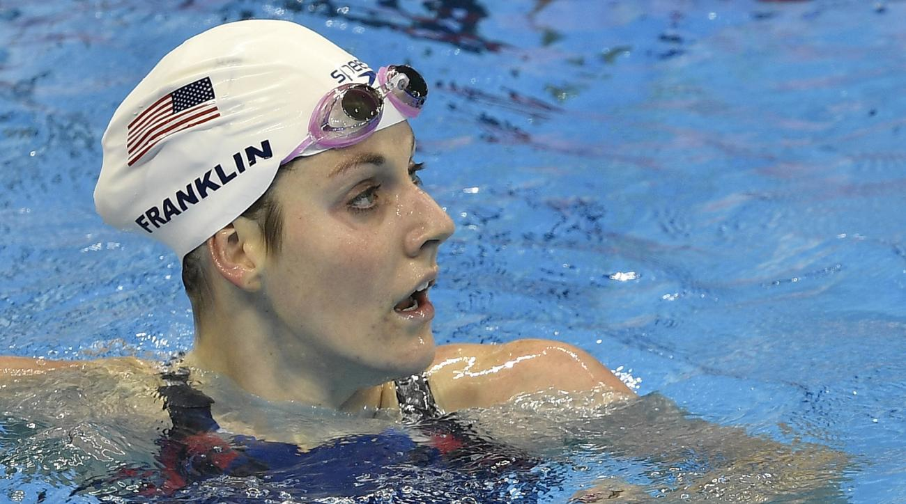United States' Missy Franklin checks her time after a women's 200-meter freestyle heat during the swimming competitions at the 2016 Summer Olympics, Monday, Aug. 8, 2016, in Rio de Janeiro, Brazil. (AP Photo/Martin Meissner)