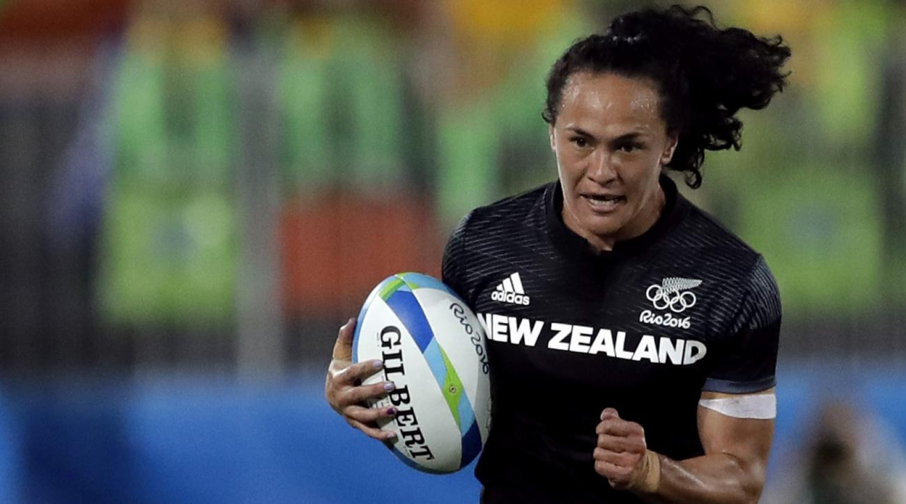 New Zealand's Portia Woodman, during the women's rugby sevens quarter final match at the Summer Olympics in Rio de Janeiro, Brazil, Sunday, Aug. 7, 2016. (AP Photo/Themba Hadebe)