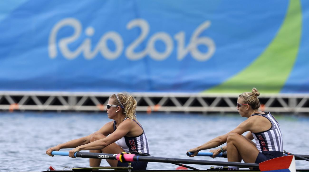 Felice Mueller and Grace Luczak, of United States, compete in the women's rowing pair heat during the 2016 Summer Olympics in Rio de Janeiro, Brazil, Monday, Aug. 8, 2016. (AP Photo/Luca Bruno)