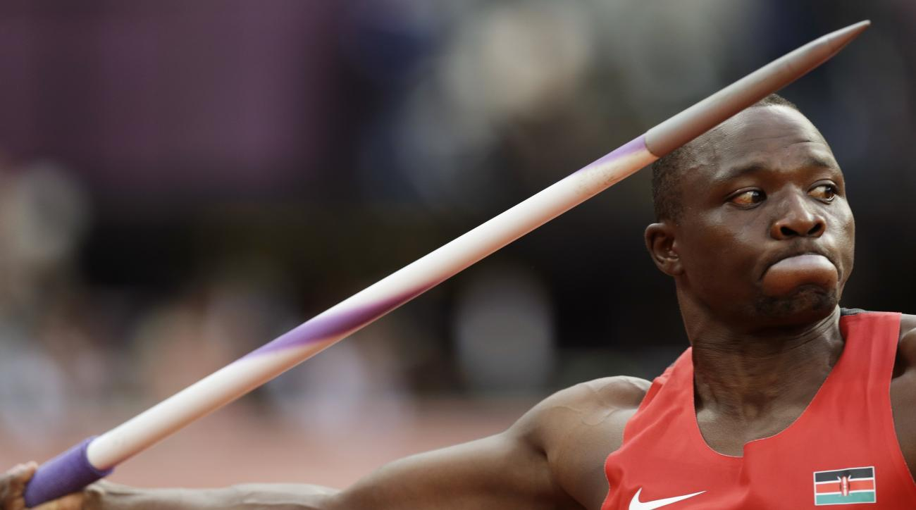 FILE - In this Aug. 11, 2012 file photo, Kenya's Julius Yego competes in the men's javelin throw final during the Summer Olympics in London. The Kenyan athletics federation turned on the country's Olympic committee on Monday, Aug. 8, 2016, blaming it for