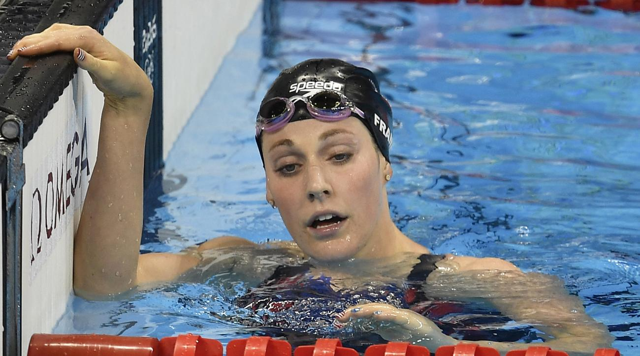 United States' Missy Franklin reacts after placing last in a women's 200-meter freestyle semifinal during the swimming competitions at the 2016 Summer Olympics, Monday, Aug. 8, 2016, in Rio de Janeiro, Brazil. (AP Photo/Martin Meissner)
