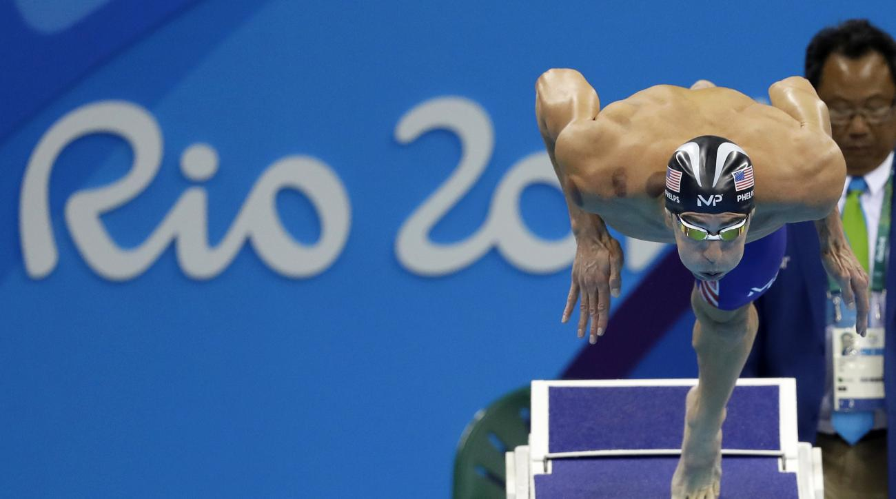 United States' Michael Phelps starts a men's 200-meter butterfly semifinal during the swimming competitions at the 2016 Summer Olympics, Monday, Aug. 8, 2016, in Rio de Janeiro, Brazil. (AP Photo/Michael Sohn)