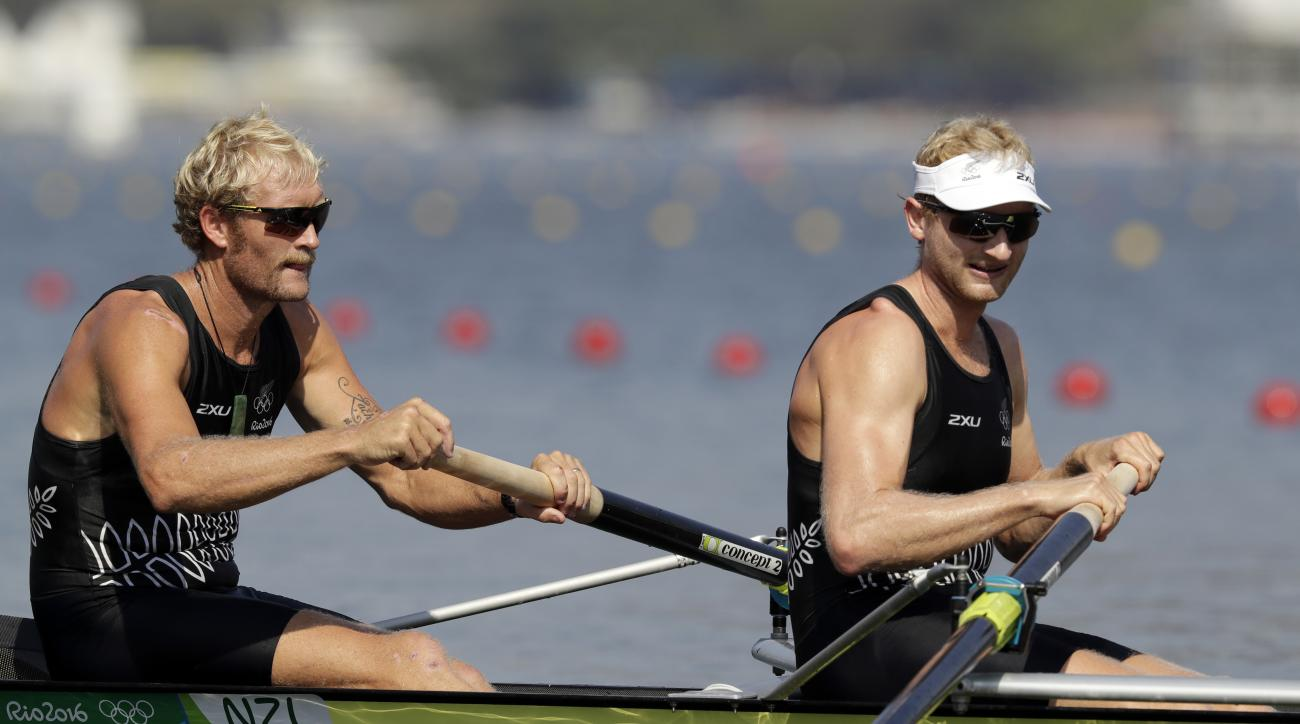 Eric Murray and Hamish Bond, of New Zealand, competes in the men's rowing pair semifinal heat during the 2016 Summer Olympics in Rio de Janeiro, Brazil, Tuesday, Aug. 9, 2016. (AP Photo/Luca Bruno)