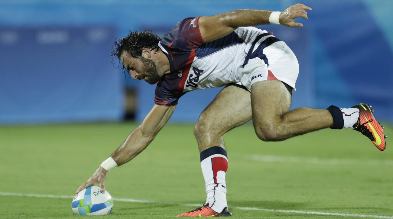 United States's Nate Ebner, scores a try during the men's rugby sevens match against Brazil at the Summer Olympics in Rio de Janeiro, Brazil, Tuesday, Aug. 9, 2016. (AP Photo/Themba Hadebe)