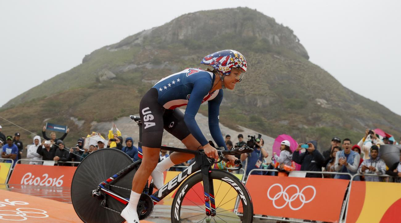 Cyclist Kristin Armstrong of the United States rides at the start of the women's individual time trial event at the 2016 Summer Olympics in Pontal beach, Rio de Janeiro, Brazil, Wednesday, Aug. 10, 2016. (AP Photo/Patrick Semansky)