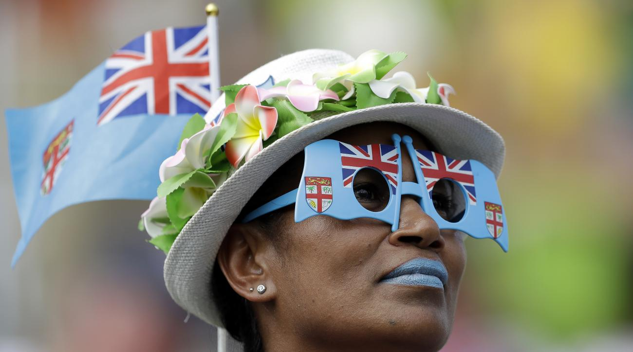 A fan from Fiji attends the men's rugby sevens match at the Summer Olympics in Rio de Janeiro, Brazil, Tuesday, Aug. 9, 2016. (AP Photo/Themba Hadebe)