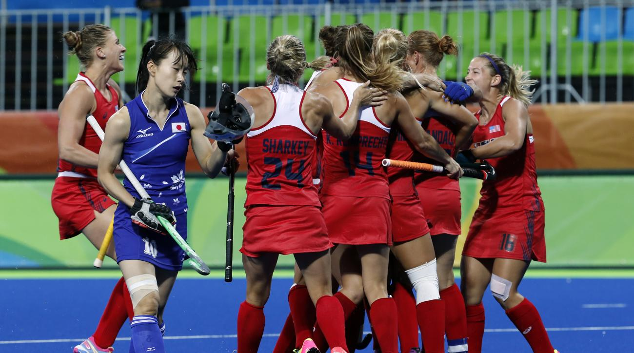 The team of United States celebrates after scoring against Japan during a women's field hockey match at the 2016 Summer Olympics in Rio de Janeiro, Brazil, Wednesday, Aug. 10, 2016. (AP Photo/Dario Lopez-Mills)