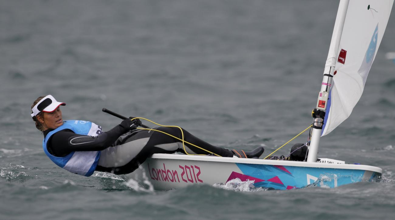 Evi Van Acker of Belgium sails on Laser Radial Women's dinghy during the race 6 at the London 2012 Summer Olympics, Wednesday, Aug. 1, 2012, in Weymouth and Portland, England. (AP Photo/Francois Mori)