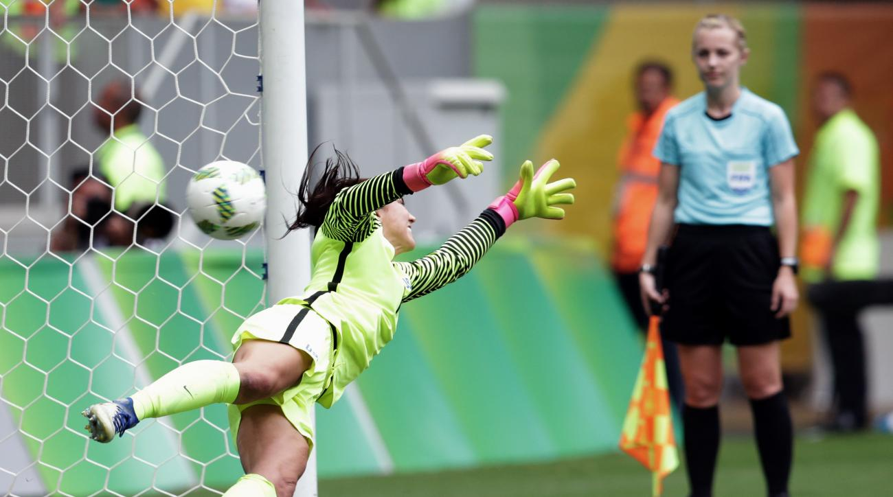 United States goalkeeper Hope Solo fails to stop a penalty during a penalty shoot-out in the quarter-final match of the women's Olympic football tournament between the United States and Sweden in Brasilia Friday Aug. 12, 2016. The United States was elimin