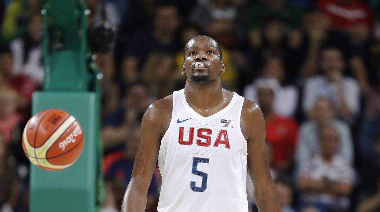 United States' Kevin Durant (5) walks up court during a men's basketball game against Serbia at the 2016 Summer Olympics in Rio de Janeiro, Brazil, Friday, Aug. 12, 2016. (AP Photo/Eric Gay)