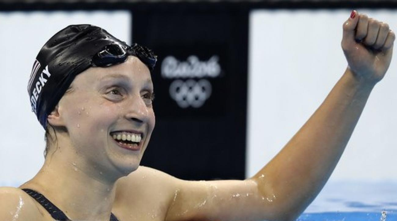 United States' Katie Ledecky celebrates after the women's 800-meter freestyle final during the swimming competitions at the 2016 Summer Olympics, Friday, Aug. 12, 2016, in Rio de Janeiro, Brazil. (AP Photo/Michael Sohn)