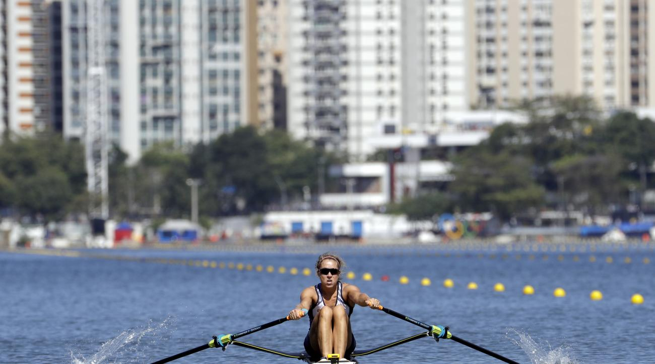 Genevra Stone, of United States, rows for silver in the women's rowing single sculls final during the 2016 Summer Olympics in Rio de Janeiro, Brazil, Saturday, Aug. 13, 2016. (AP Photo/Andre Penner)