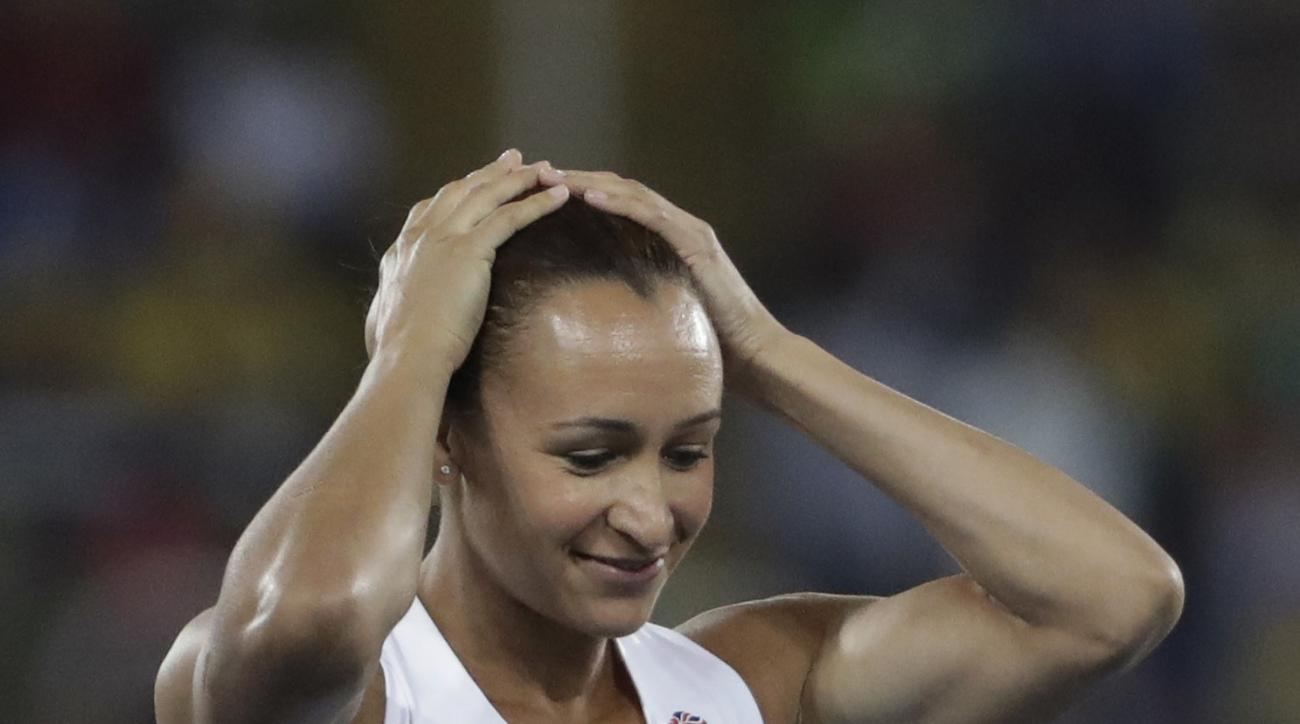 Britain's Jessica Ennis-Hill competes in the women's heptathlon javelin throw during the athletics competitions of the 2016 Summer Olympics at the Olympic stadium in Rio de Janeiro, Brazil, Saturday, Aug. 13, 2016. (AP Photo/David Goldman)