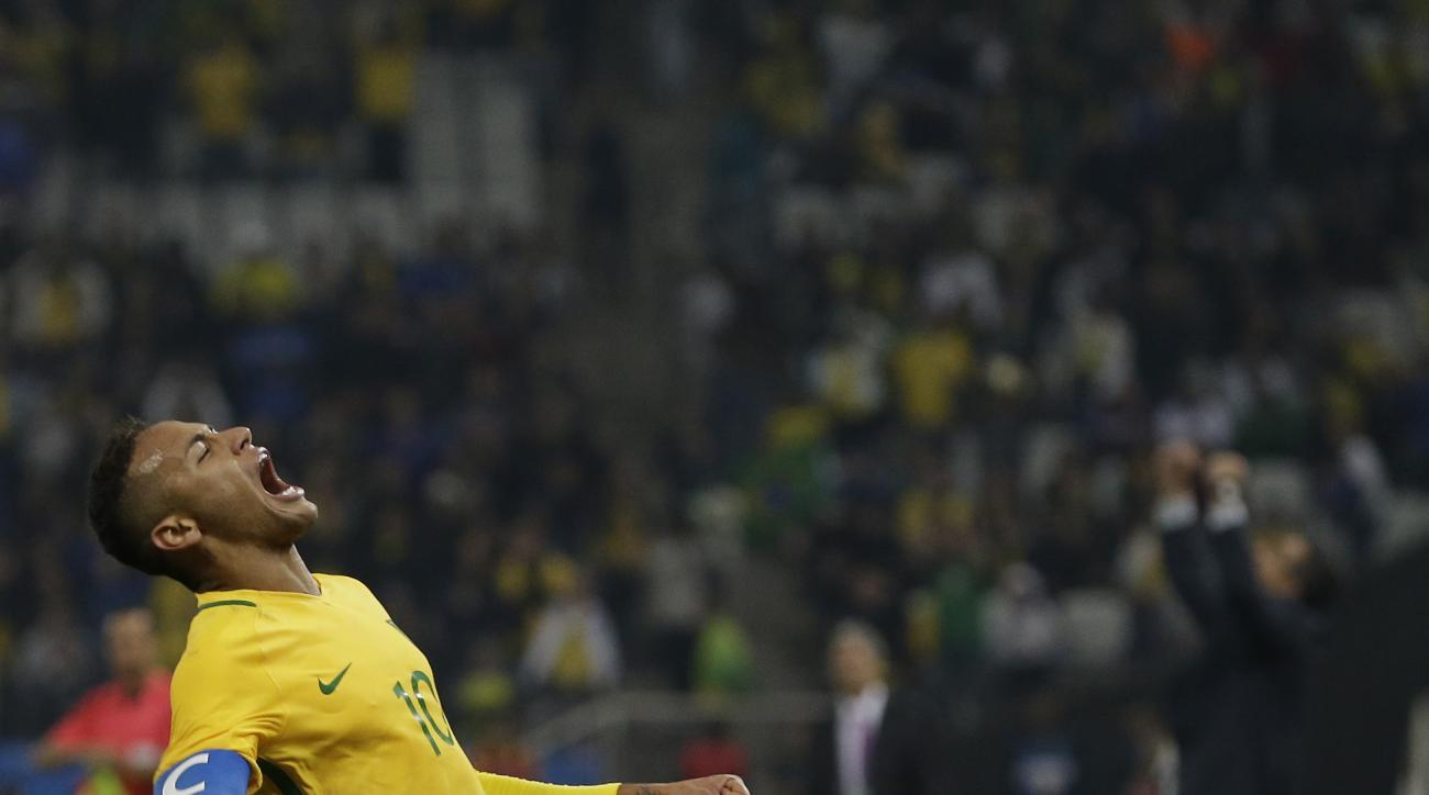 Brazil's Neymar celebrates at the end of a quarter-final match of the men's Olympic football tournament against Colombia in Sao Paulo, Brazil, Saturday Aug. 13, 2016. Brazil won 2-0 and qualified for the semi-finals.(AP Photo/Leo Correa)