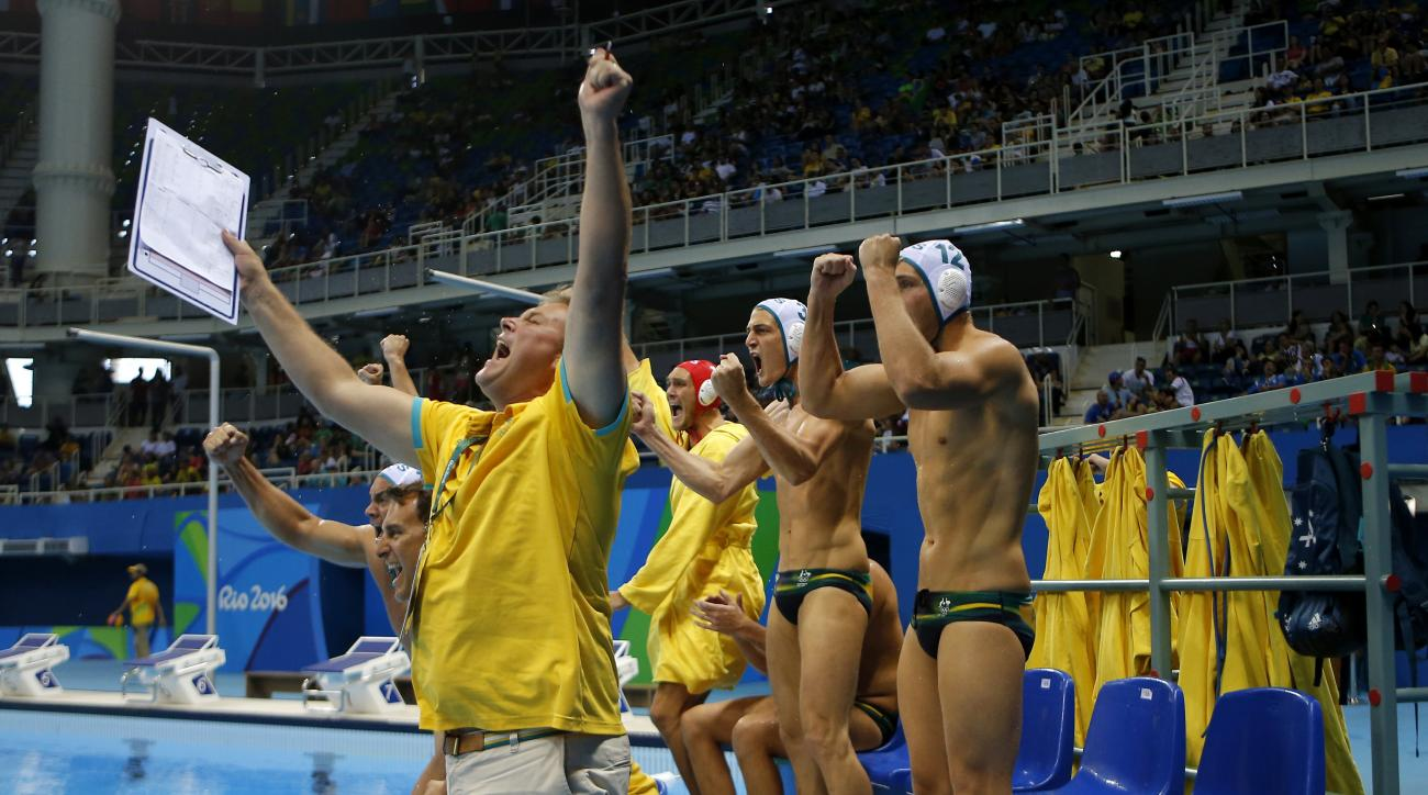 Australia team react during a preliminary men's water polo match against Greece at the 2016 Summer Olympics in Rio de Janeiro, Brazil, Sunday, Aug. 14, 2016. (AP Photo/Eduardo Verdugo)