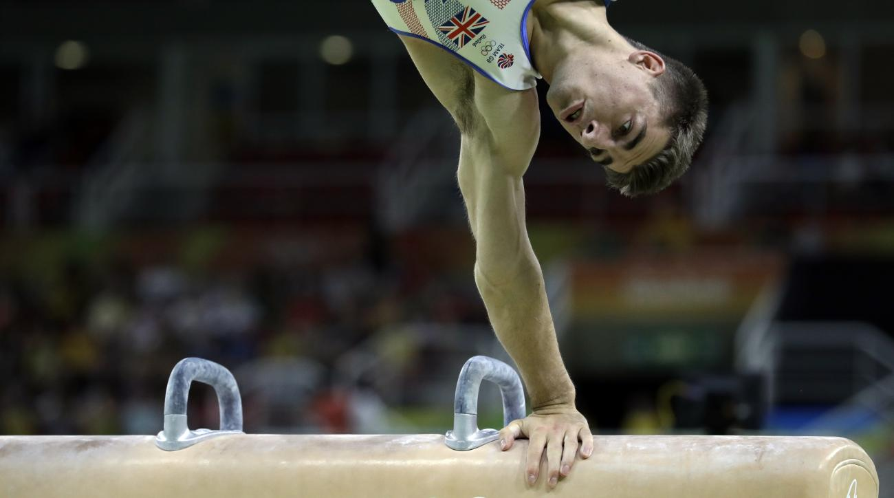 Britain's Max Whitlock performs on the pommel horse during the artistic gymnastics men's apparatus final at the 2016 Summer Olympics in Rio de Janeiro, Brazil, Sunday, Aug. 14, 2016. (AP Photo/Rebecca Blackwell)