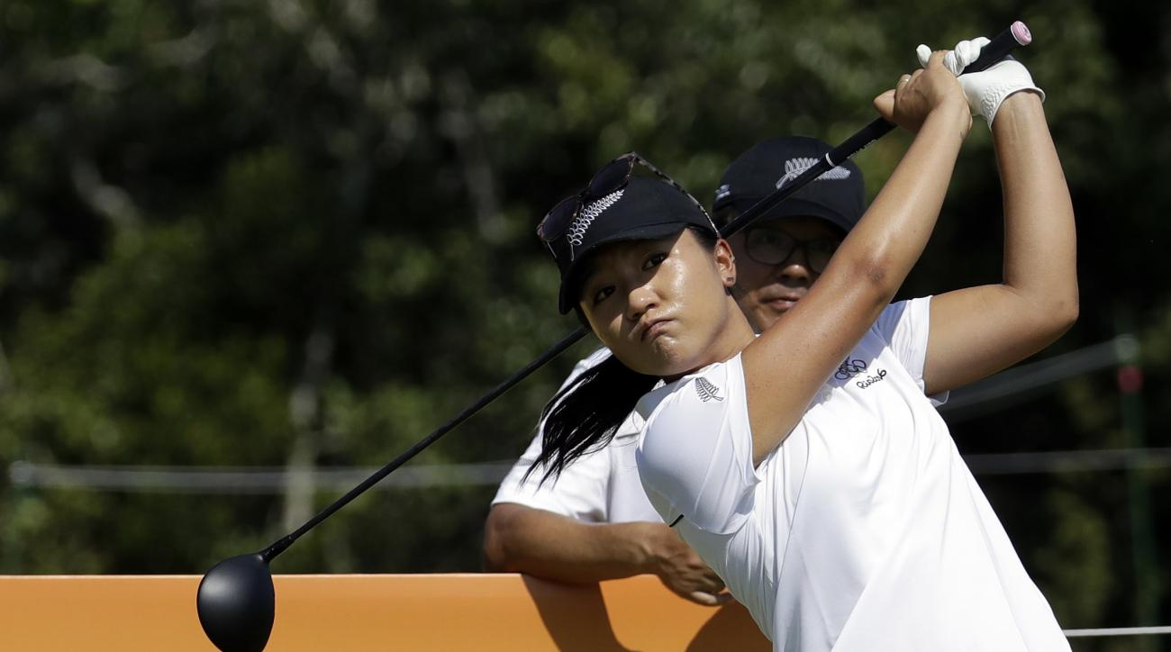 Lydia Ko of New Zealand, hits a shot on the 5th hole during a practice round for the women's golf event at the 2016 Summer Olympics in Rio de Janeiro, Brazil, Monday, Aug. 15, 2016. (AP Photo/Chris Carlson)