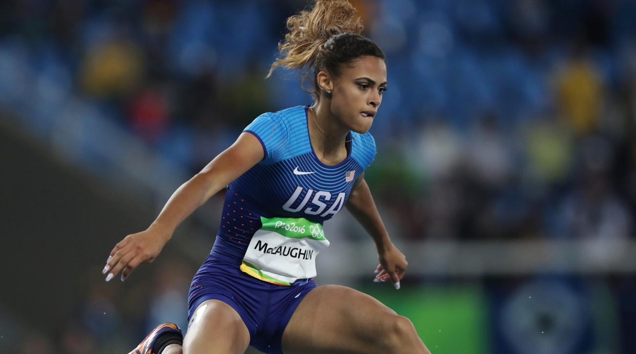 United States' Sydney McLaughlin competes in a women's 400-meter hurdles heat during the athletics competitions of the 2016 Summer Olympics at the Olympic stadium in Rio de Janeiro, Brazil, Monday, Aug. 15, 2016. (AP Photo/Lee Jin-man)