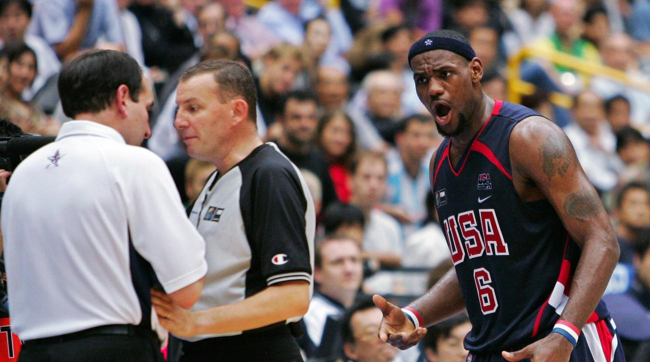FILE - This Sept. 1, 2006 file photo shows USA's LeBron James looking to coach Mike Krzyewski after being called for a technical foul late in their game against Greece at the semifinals of the World Basketball Championships in Saitama, Japan. Ten years ag
