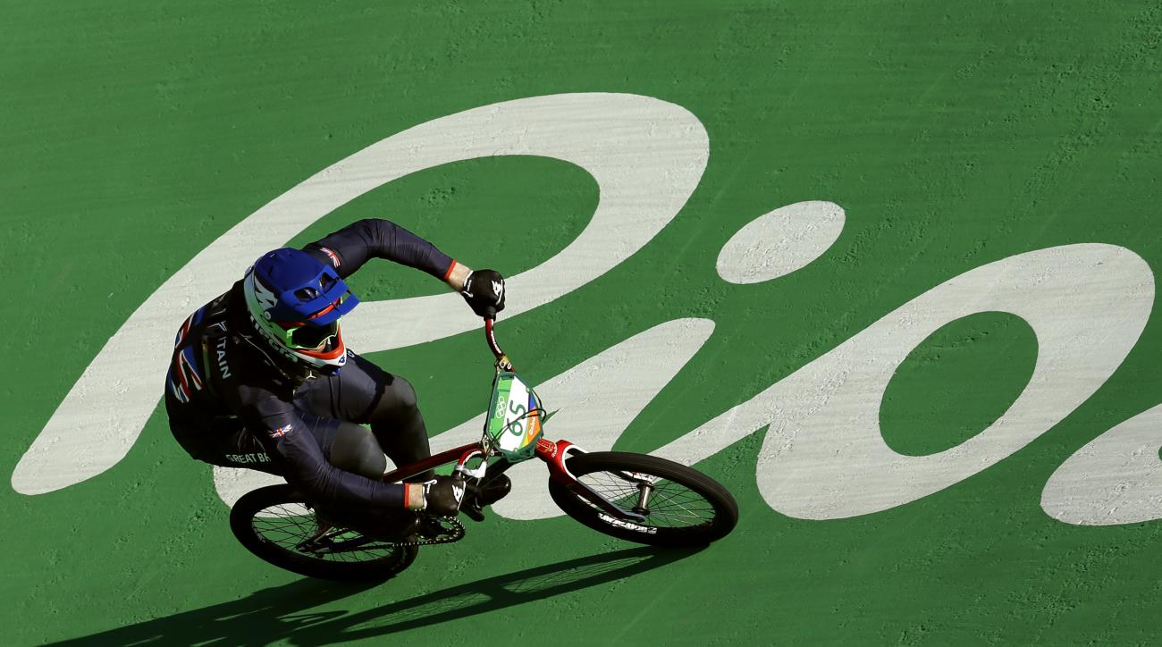 Liam Phillips of Britain competes in the men's seeding run at the Olympic BMX Center during the 2016 Summer Olympics in Rio de Janeiro, Brazil, Wednesday, Aug. 17, 2016. (AP Photo/Victor R. Caivano)