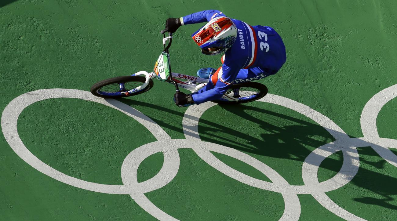 Joris Daudet of France competes in the men's seeding run at the Olympic BMX Center during the 2016 Summer Olympics in Rio de Janeiro, Brazil, Wednesday, Aug. 17, 2016. (AP Photo/Victor R. Caivano)