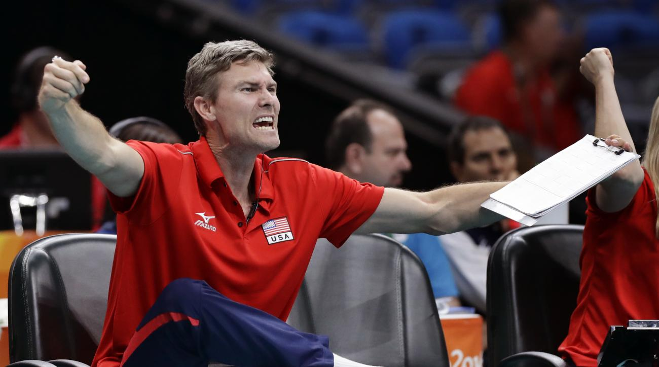 Matt Fuerbringer, an assistant coach with the United States volleyball team, shouts instructions during a men's quarterfinal volleyball match against Poland at the 2016 Summer Olympics in Rio de Janeiro, Brazil, Wednesday, Aug. 17, 2016. (AP Photo/Robert