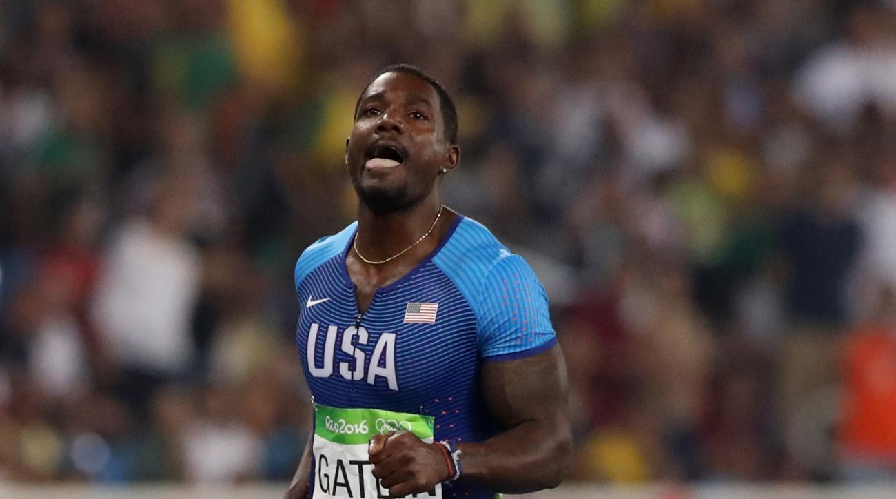 United States' Justin Gatlin competes in a men's 200-meter semifinal during the athletics competitions of the 2016 Summer Olympics at the Olympic stadium in Rio de Janeiro, Brazil, Wednesday, Aug. 17, 2016. (AP Photo/Lee Jin-man)