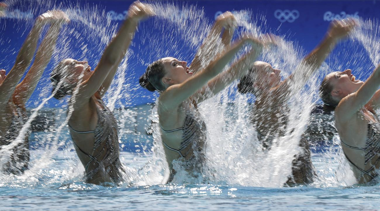 Russia's team competes during the synchronized swimming team technical routine final in the Maria Lenk Aquatic Center at the 2016 Summer Olympics in Rio de Janeiro, Brazil, Thursday, Aug. 18, 2016. (AP Photo/Wong Maye-E)