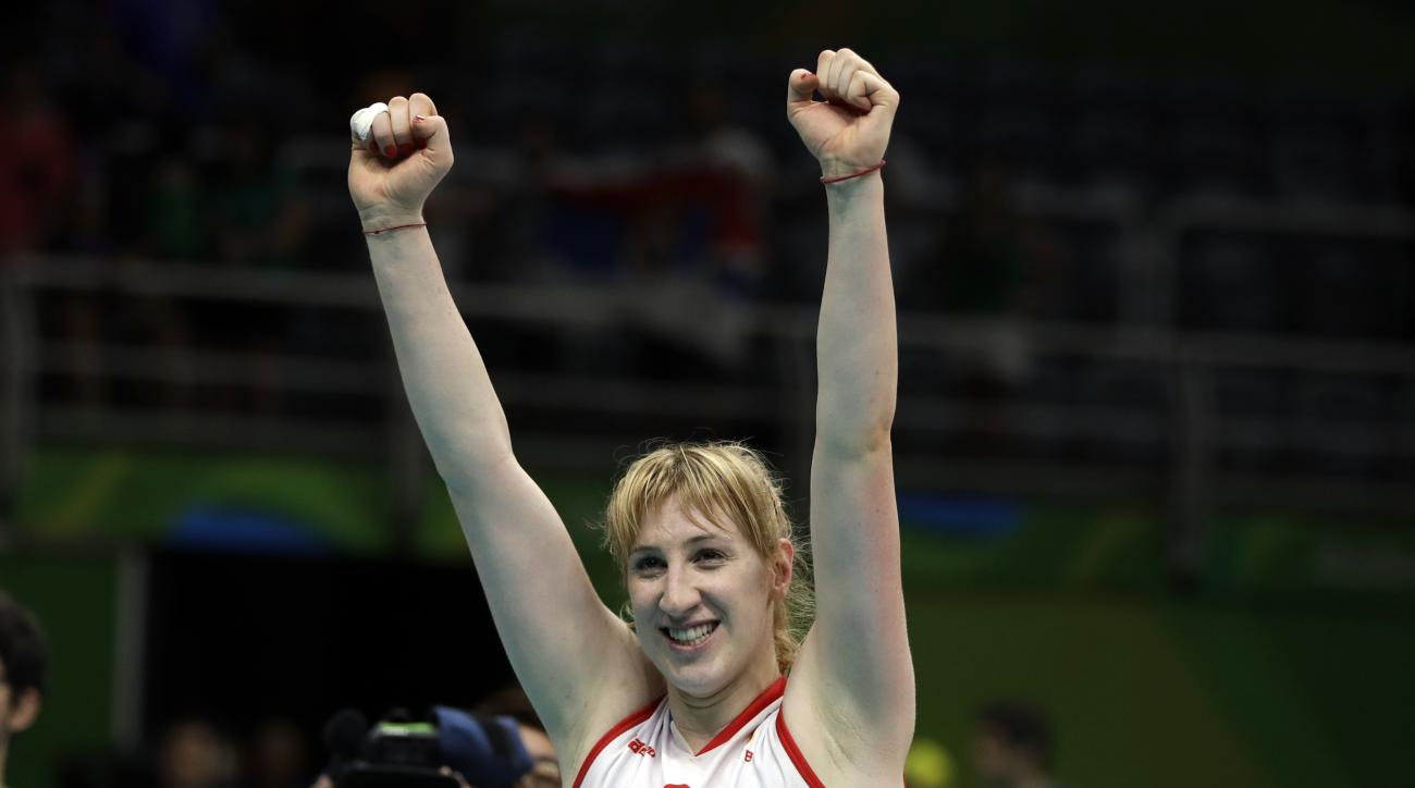 Serbia's Brankica Mihajlovic celebrates a win after a women's semifinal volleyball match against the United States at the 2016 Summer Olympics in Rio de Janeiro, Brazil, Thursday, Aug. 18, 2016. (AP Photo/Matt Rourke)