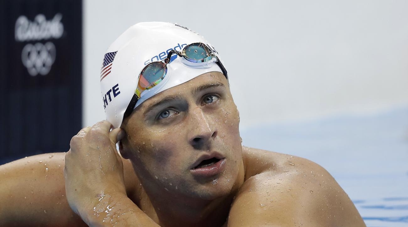 FILE - In this Tuesday, Aug. 9, 2016, file photo, United States' Ryan Lochte checks his time in a men's 4x200-meter freestyle heat during the swimming competitions at the 2016 Summer Olympics, in Rio de Janeiro, Brazil. Add two fresh entries to the increa
