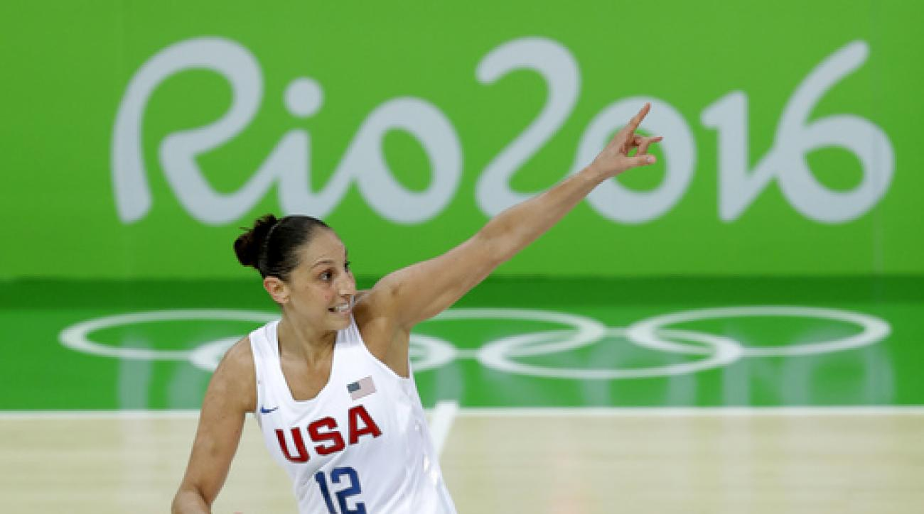 United States' Diana Taurasi celebrates after making a three-point basket during the gold medal basketball game against Spain at the 2016 Summer Olympics in Rio de Janeiro, Brazil, Saturday, Aug. 20, 2016. (AP Photo/Charlie Neibergall)