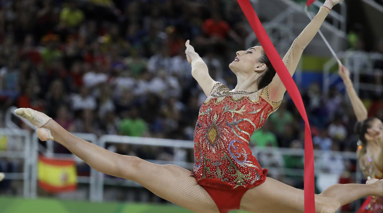 Team Bulgaria performs during the rhythmic gymnastics group all-around final at the 2016 Summer Olympics in Rio de Janeiro, Brazil, Sunday, Aug. 21, 2016. (AP Photo/Rebecca Blackwell)