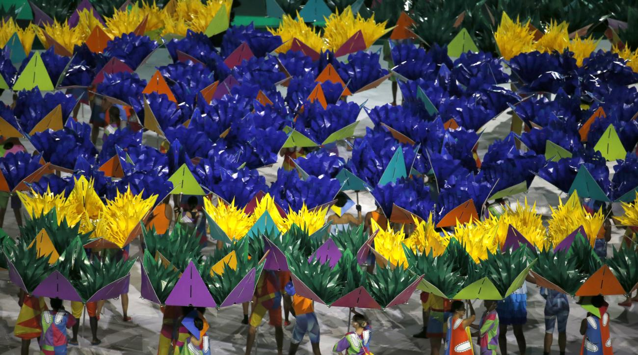 Dancers perform during the opening ceremony of the Rio 2016 Paralympic games at Maracana Stadium in Rio de Janeiro, Brazil, Sept. 7, 2016. (AP Photo/Silvia Izquierdo)
